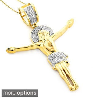 10k Gold 5/8ct TDW Diamond Crucifix Necklace (H-I, SI1-SI2)