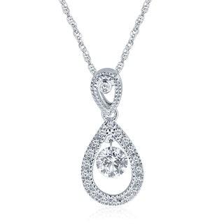 10k White Gold 1/2ct Floating Diamond Pear Shape Necklace (H-I, I1-I2)