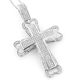 10K White Gold 1.73ct TDW Pave Diamond Cross Necklace