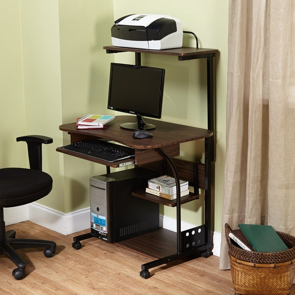 Generic Mobile Computer Tower with Shelf (Black)