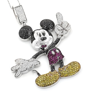 10k Gold 5 1/5ct TDW Color Diamond Mickey Mouse Necklace