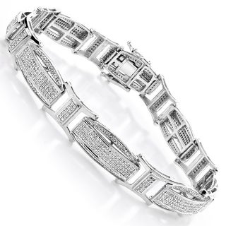 Luxurman 10k White Gold Men's 2 2/5ct Diamond Pave Bracelet (H-I, SI1-SI2)