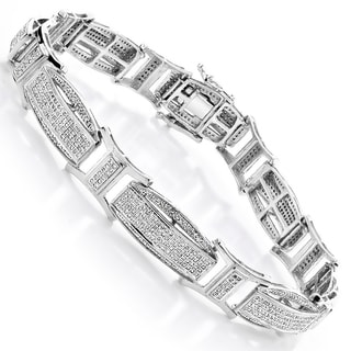 10k White Gold Men's 2 2/5ct Diamond Pave Bracelet (H-I, SI1-SI2)
