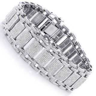 10k White Gold Men's 9.75ct TDW Pave Diamond Link Bracelet (H-I, SI1-SI2)