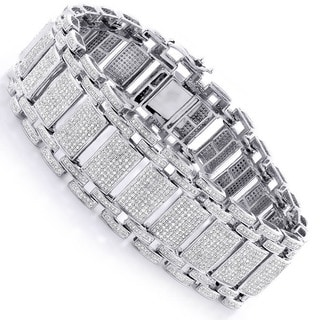 Luxurman 10k White Gold Men's 9.75ct TDW Pave Diamond Link Bracelet (H-I, SI1-SI2)