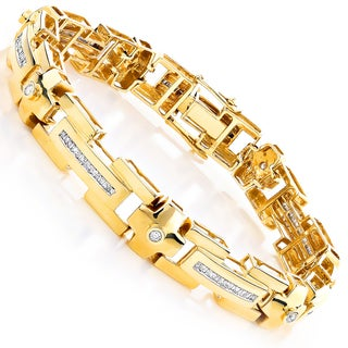 14k Yellow Gold Men's 2ct TDW Diamond Men's Link Bracelet (H-I, SI1-SI2)