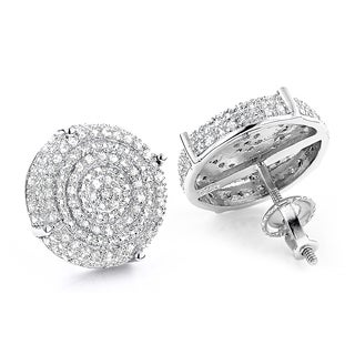 Sterling Silver 3/8ct TDW Pave Diamond Circle Earrings (H-I, SI1-SI2)