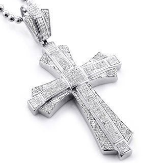 Sterling Silver Men's 1 1/6ct TDW Diamond Cross Micro Pave Necklace (H-I, SI1-SI2)