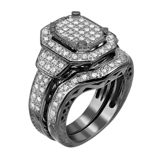 Black Rhodium Sterling Silver 1/2ct TDW Diamond Bridal Set Ring (G-H, I1-I2)