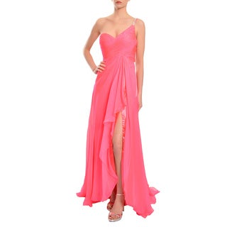Mac Duggal Candy Pink One Shoulder Beaded Cut Out Evening Prom Dress Gown