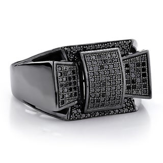 10k Black Gold Men's 3/5ct TDW Black Diamond Pave Ring