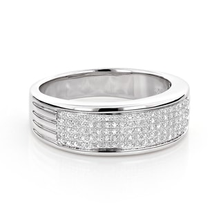 Sterling Silver 1/4ct TDW Pave Diamond Men's Wedding Band (H-I, SI1-SI2)