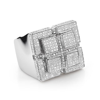 Sterling Silver 1 3/5ct TDW Pave Diamond Ring