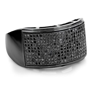 10k Black Gold Men's 3/4ct TDW Pave Black Diamond Ring