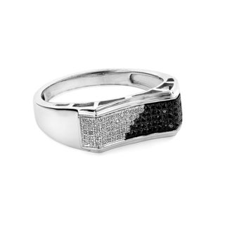 Sterling Silver Men's 1/3ct TDW Black and White Diamond Ring
