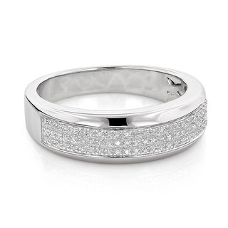 Sterling Silver 1/5ct TDW Men's Pave Diamond Wedding Band (H-I, SI1-SI2)