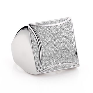 Luxurman Sterling Silver Men's 1ct TDW Pave Diamond Ring (I-J, I1-I2)