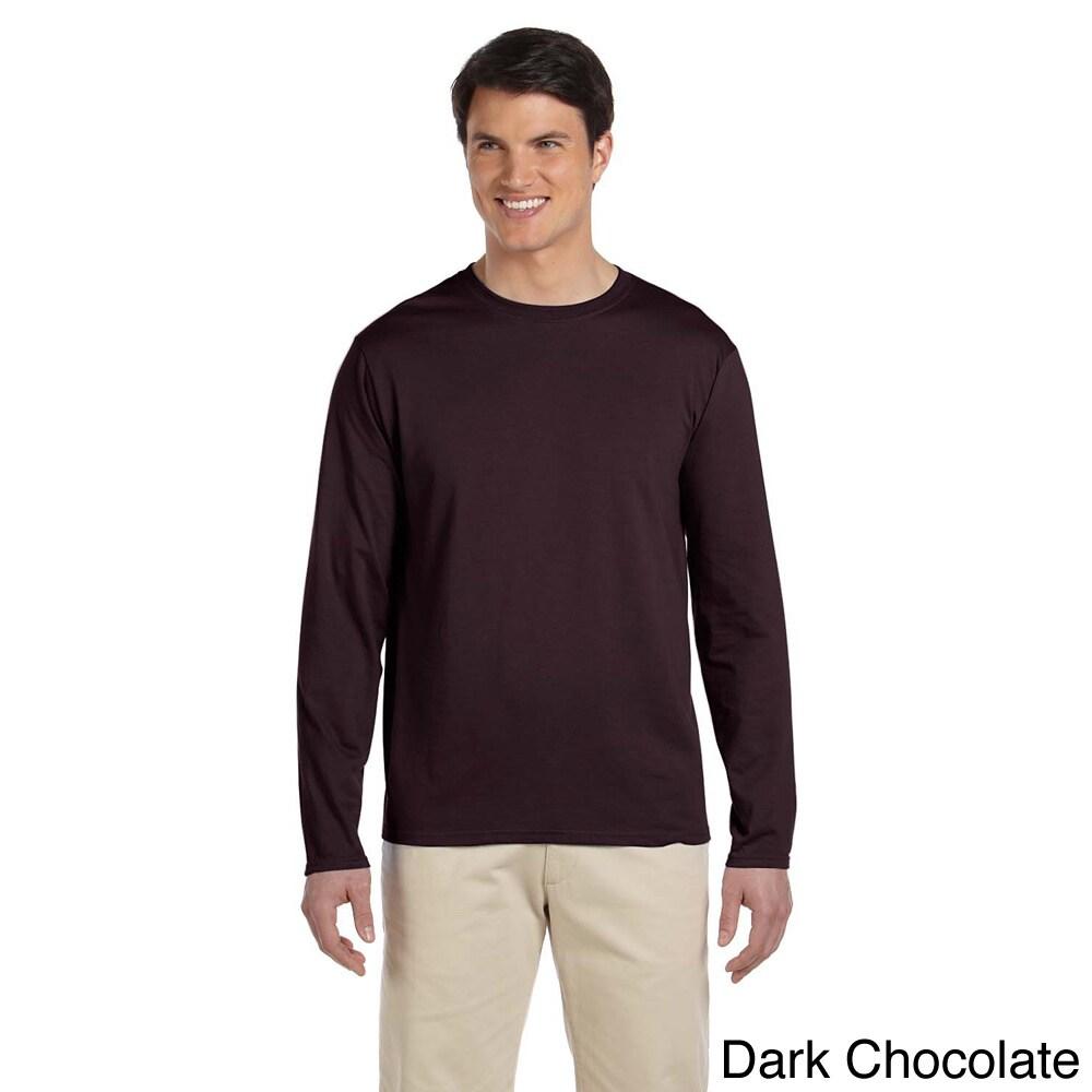 Gildan Mens Softstyle Cotton Long Sleeve T shirt Brown Size XXL