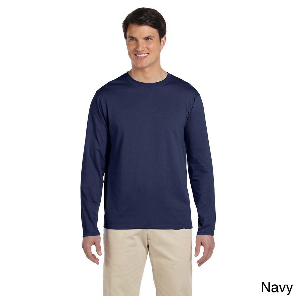 Gildan Mens Softstyle Cotton Long Sleeve T shirt Navy Size XXL