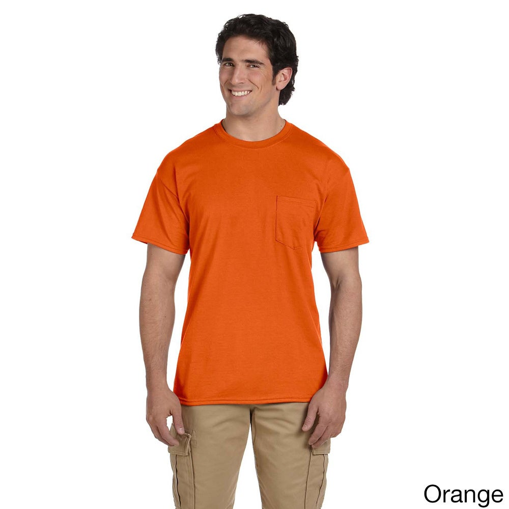 Gildan Mens Dry Blend Pocket T shirt Orange Size XXL