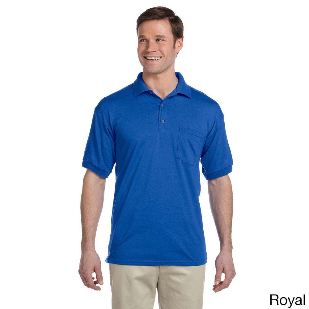 Gildan Gildan Mens Dry Blend Jersey Polo Shirt Blue Size XXL