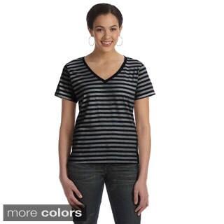 Women's Ringspun Striped V-neck T-shirt