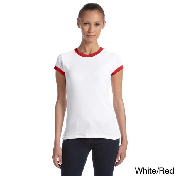 Bella Ladies 5.8 oz., 1x1 Baby Rib Ringer T-Shirt