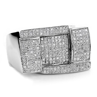 Sterling Silver 7/8ct TDW Men's Pave Diamond Ring (H-I, SI1-SI2)