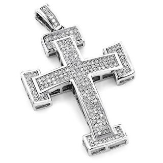 10k White Gold 7/8ct TDW Diamond Cross Pendant (H-I, SI3)