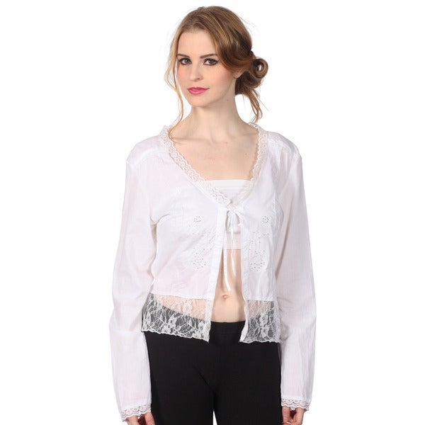 Cotton Express Crinkle Eyelet Lace Top