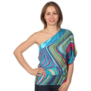 Prototype Junior's One-shoulder Aztec Printed Top