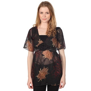 Cotton Express Junior's Black Floral Printed Top
