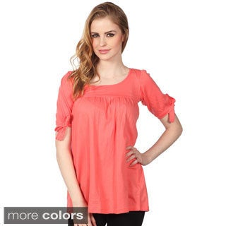Cotton Express Juniors Elbow Sleeve Seamed Knit Top