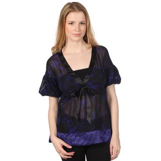 Cotton Express Juniors Royal Blue Sheer Printed Shirt