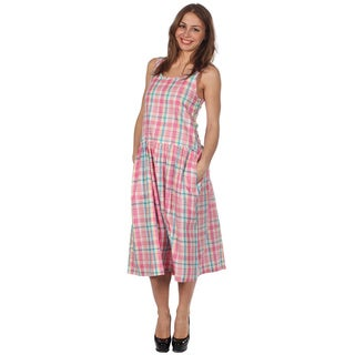 Cotton Express Pink, Blue and Lavender Sleevless Plaid Dress