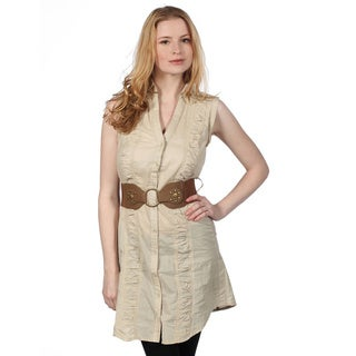 Cotton Express Rouch Front Button Down Belted Dress