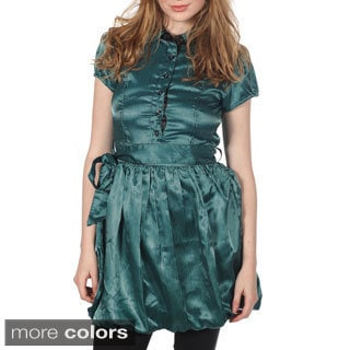 Cotton Express Short Sleeve Belted Bubble Dress