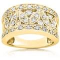 Annello 14k Yellow Gold 1/2ct TDW Diamond Floral Anniversary Ring (H-I, I1-I2)