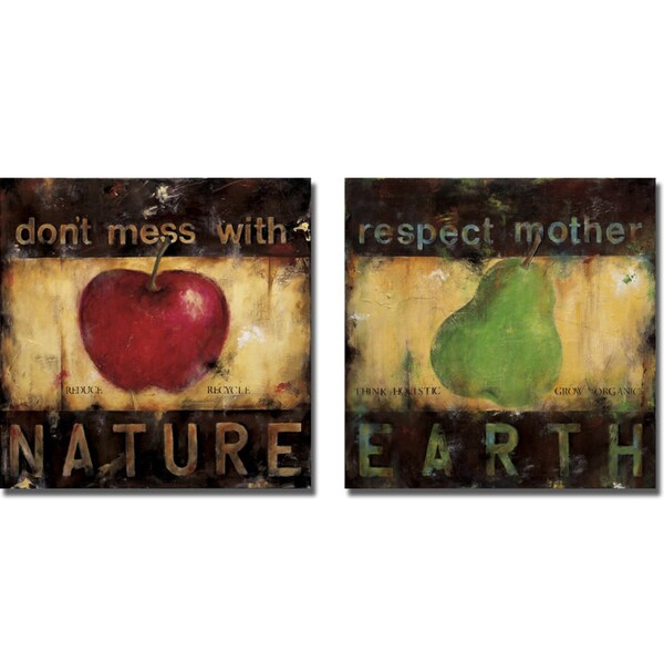 Wani Pasion 'Don't Mess with Nature and Respect Mother Earth' 2-piece Canvas Art Set