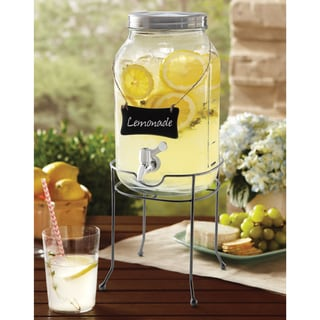 Order Home Collection Glass Mason Jar Drink Dispenser with Base