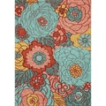 nuLOOM Hand-hooked Floral Indoor / Outdoor Synthetics Multi Rug (5' x 8')