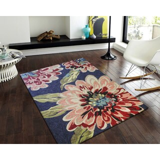 nuLOOM Hand-hooked Floral Indoor / Outdoor Synthetics Blue Rug (5' x 8')