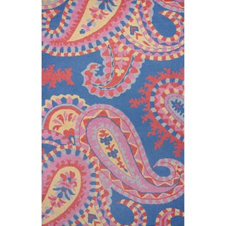 nuLOOM Hand-hooked Paisley Wool Blue Rug (8'6 x 11'6)