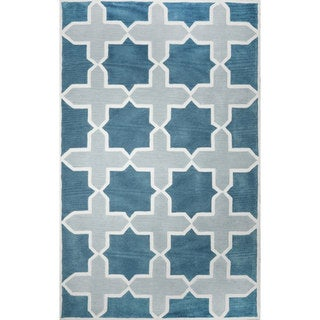 nuLOOM Hand-tufted Trellis Synthetics Blue Rug (8' 6 x 11' 6)