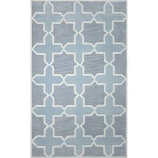 nuLOOM Hand-tufted Trellis Synthetics Grey Rug (8'6 x 11'6)