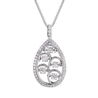 Auriya 14k White Gold 4/5ct TDW 'Dancing Stone' Diamond Teardrop Necklace (G-H, I1-I2)