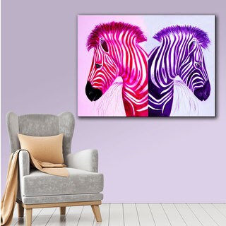 Lindsey Janich 'Zebras Pink Purple' Gallery-Wrapped Canvas