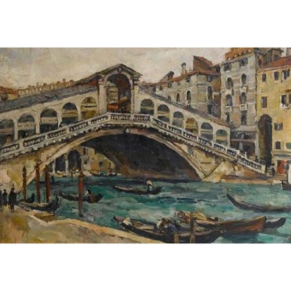 Rialto Bridge in Venice' Oil on Canvas Art