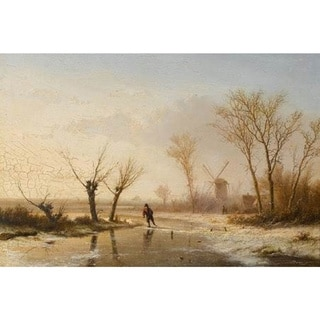 Pieter Lodewijk Francisco Kluyver 'Winter Landscape with Skating Figure' Oil on Canvas Art