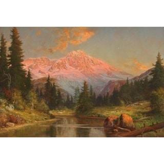 Alpine Sunset Glow' Oil on Canvas Art